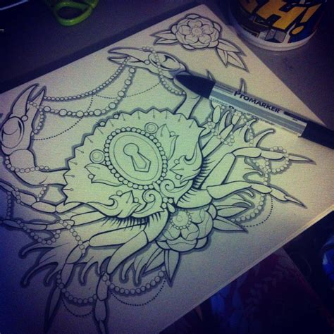 theme tattoo inspiration crab and pearls cancer theme lock