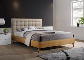 Scandinavian Bed Frames Uk Gino Bed Frame Beige Fabric Oak Wood King Size 5ft 150cm