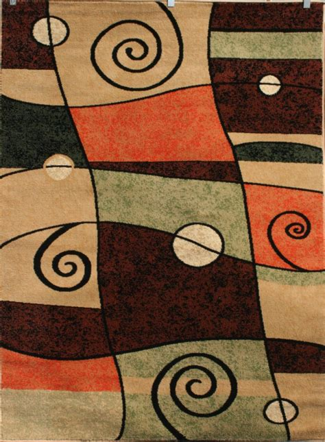 Modern Abstract Rugs 1056 Orange Modern Abstract Beige Beige Contemporary Area Rug Carpet Ebay