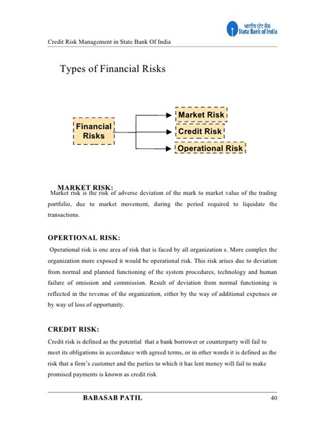 Mba Project On State Bank Of India by Credit Risk Management State Bank Of India Project