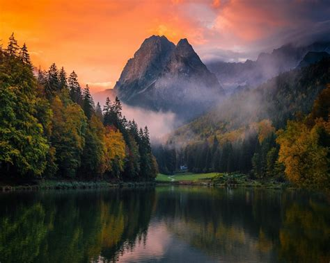 Dusk Autumn Forest Lake Water Lake Mountain Forest Germany Mist Sunset Fall Trees