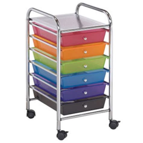 Multi Coloured Plastic Storage Drawers by Multicolor Mobile Storage Cart 4 Drawer 2 Shelf B34271