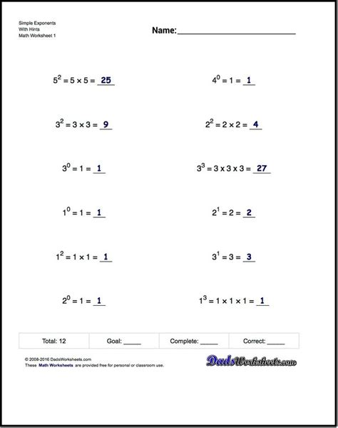 printable math worksheets with exponents 17 best ideas about exponents practice on pinterest