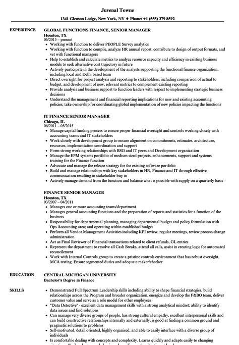 senior finance manager resume format finance senior manager resume sles velvet