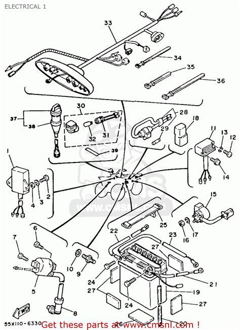 yamaha yfm80s moto 4 1986 electrical 1 schematic partsfiche