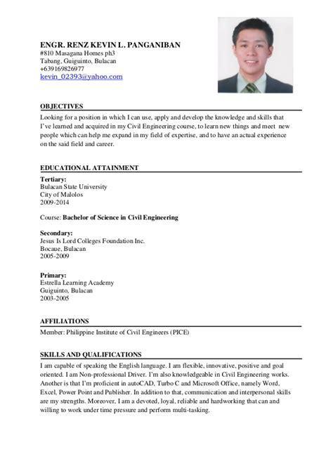 sle resume for ojt civil engineering students resume ni engr renz kevin