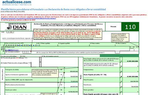 formulario declaracion de renta persona juridica 2015 187 formulario 110