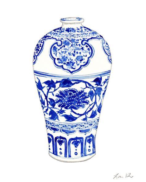 blue ginger jar ls blue and white ginger jar vase no 3 original watercolor