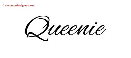 queen tattoo cursive queenie archives free name designs