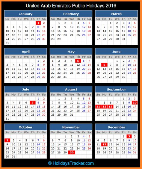Calendar 2015 Pdf Uae United Arab Emirates Holidays 2016 Holidays Tracker