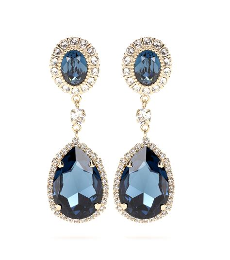 givenchy embellished clip on earrings in blue lyst