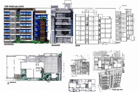 section a apartments kazedewan apartment building nine drawings elevation