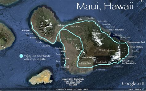 map of with stops road to hana map with tour stops in bold road to hana