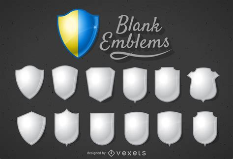 blank  shield badge template vector