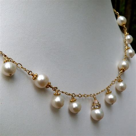 Handmade Gold Necklace - wedding pearl necklace bridal freshwater pearl jewelry