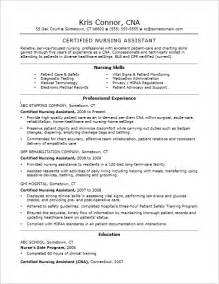 Exle Of A Cna Resume by Cna Resume Exles Skills For Cnas