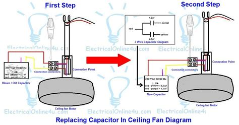 ceiling fan capacitor wiring diagram replacing capacitor in ceiling fan with diagrams electrical 4u electrical tutorials