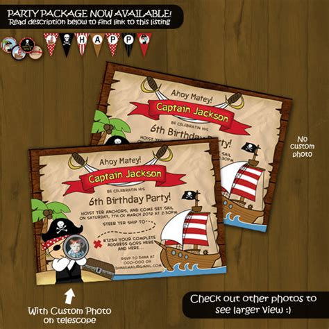 printable birthday card pirate pirate invitation printable birthday invitation card diy