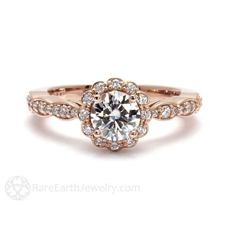 Band Engagement Moissanite Ring Wedding by 14k Gold Moissanite Engagement Ring Halo Bridal