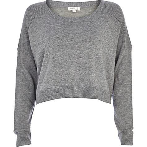 Crop Hoodie Jumper Gray Berkualitas Grey Cropped Boyfriend Jumper Jumpers Knitwear
