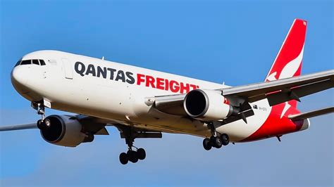 extremely qantas freight 767 300 f beautiful landing at melbourne airport