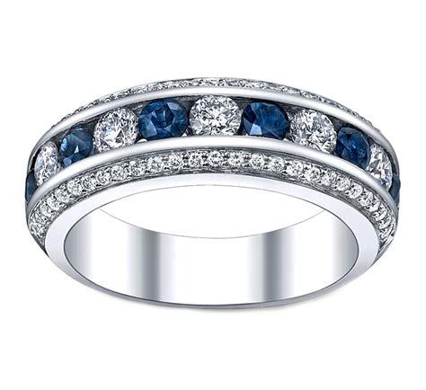 Wedding Band   Three Row Diamonds & Blue Sapphire Wedding