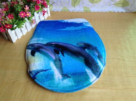 Dolphin Bathroom Rugs Bath Mat Toilet Rug Set 3 Non Slip Bathroom Washable