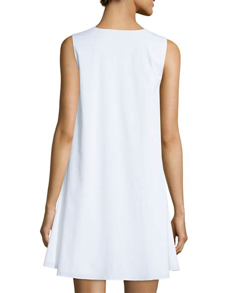 cotton swing dress the row glendale stretch cotton swing dress in white lyst