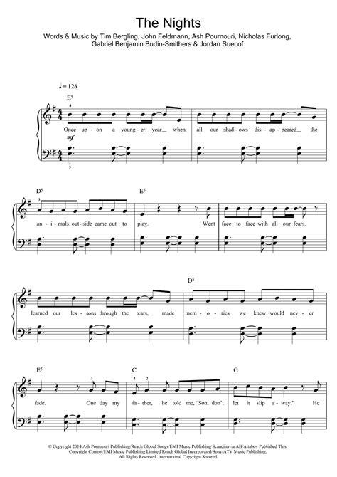 The Nights Partituras   Avicii   Piano, Voz y Guitarra