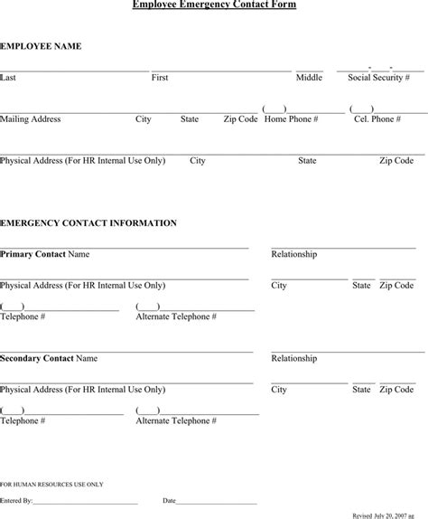 emergency form template employee emergency contact forms find word templates