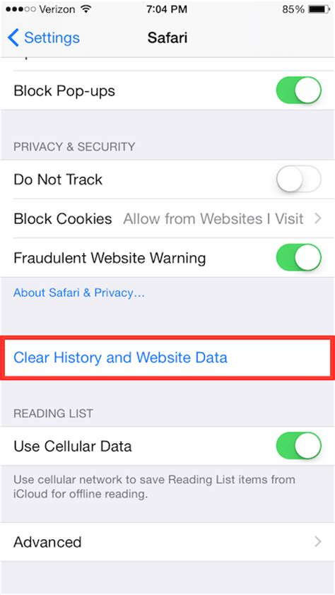 ios clearing cache and cookies