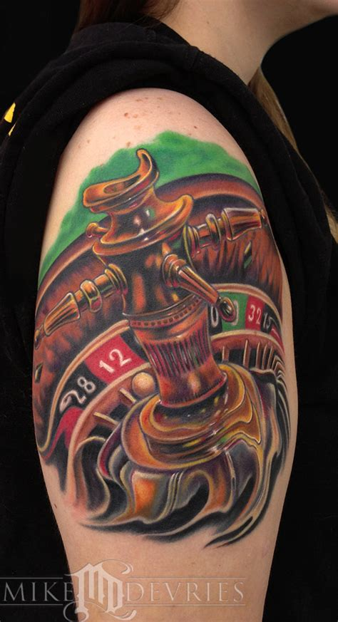 roulette table tattoo designs wheel by mike devries tattoos
