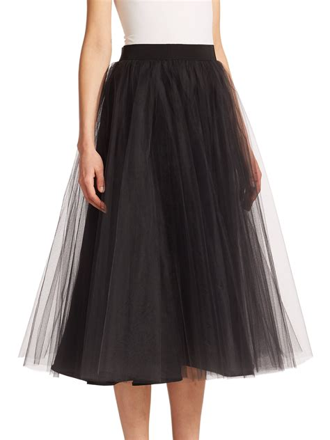 badgley mischka tulle midi skirt in black lyst