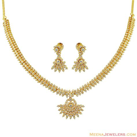 Kb Set Gold 22k gold set with cz stgd12184 22k gold necklace earring and earrings set beautifully
