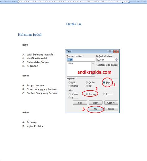 cara membuat daftar isi otomatis menggunakan tab cara mudah membuat daftar isi dengan manual table pada
