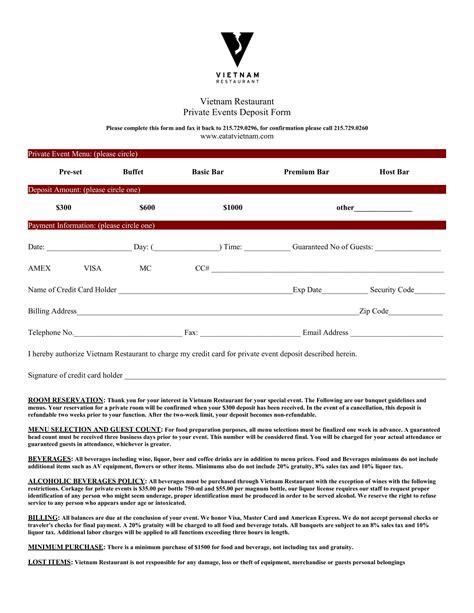 sample restaurant reservation forms