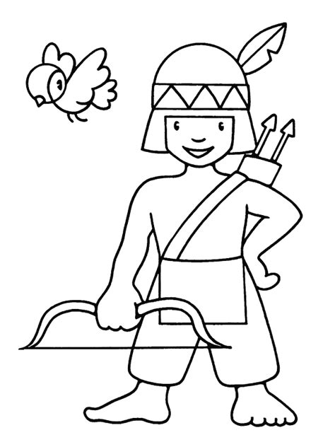 little indian boy for little children coloring pages