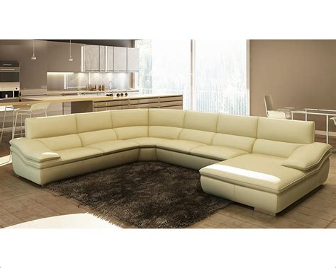 beige leather sectional modern beige italian leather sectional sofa 44l5957