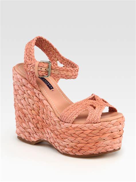 ralph wedge sandals ralph collection braided raffia slingback wedge