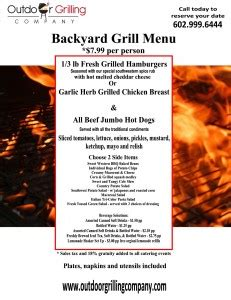 The Backyard Grill Menu Menu Outdoor Grilling Company