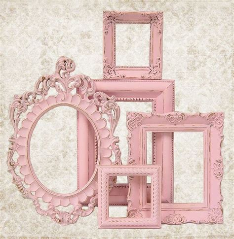 shabby chic picture frame pastel pink picture frame set ornate frames