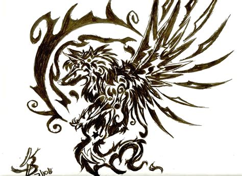 wolf tribal tattoos best tribal winged wolf design