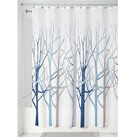 grey and blue shower curtain interdesign forest fabric shower curtain 72 x 72 blue
