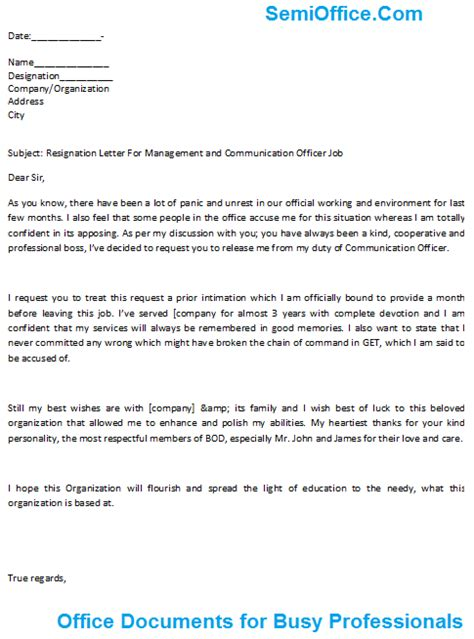 resignation letter for manager free