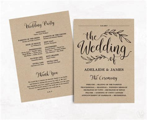 Printable Wedding Program Wedding Program Template Kraft Paper Program Instant Download Wedding Paper Templates