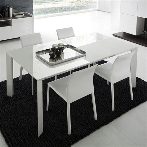 slide white rectangular dining table with glass top