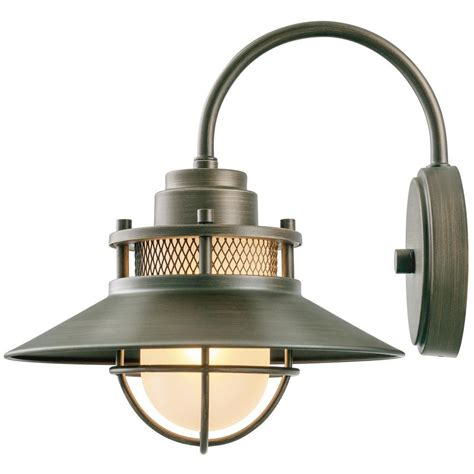 backyard lighting home depot globe electric liam collection 1 light bronze outdoor wall sconce with frosted white