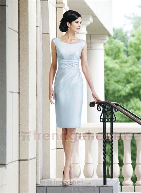 light blue mother of the bride dress elegant sheath column bateau knee length taffeta light