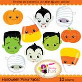 Halloween clipart Halloween Party Faces by PaintingFairyClipart