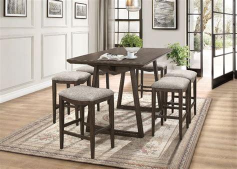 pc kirke brown finish wood fabric padded stools mid